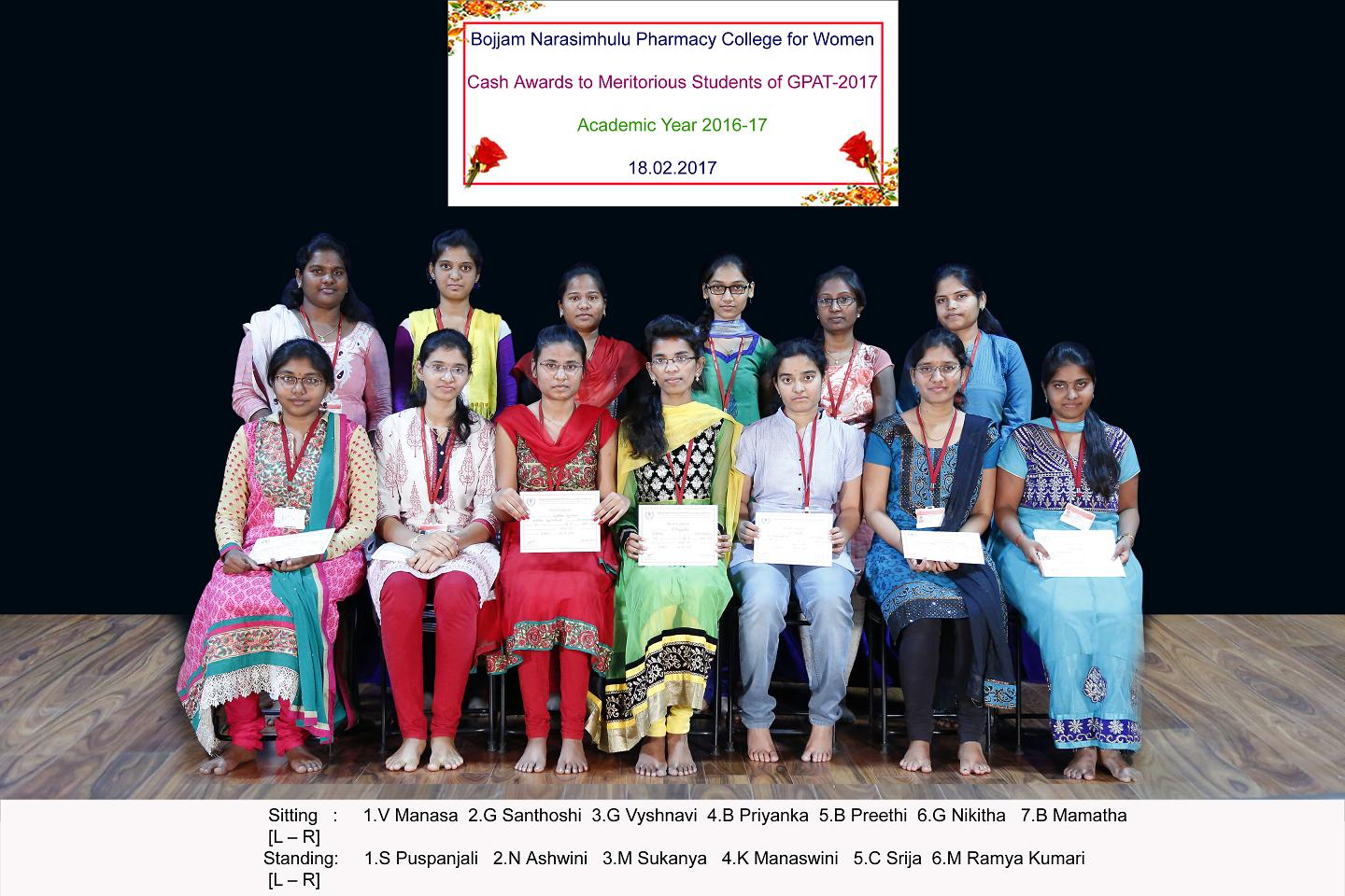 Cash Awards to Meritorious students of GPAT-2017 for the Academic Year 2016-17
