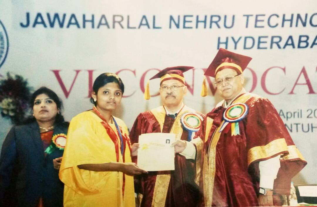 Ms. V Bhavana(12Z31R0023), University Gold Medal Winner, Felicitated by JNTUH. Best outgoing student of B. Pharmacy out of all affiliated colleges of 2012-16 Batch.
